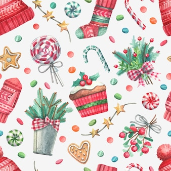 Heartwarming seamless pattern with watercolor christmas illustrations.