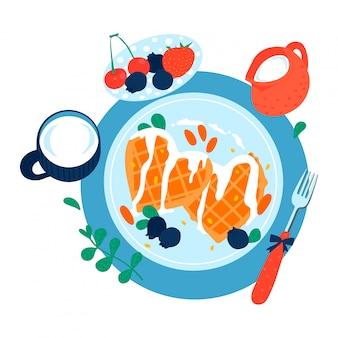 Сердечный сладкий не здоровый завтрак, блин с кремом фруктовый ягодный йогурт, изолированные на белом, карикатура иллюстрации.