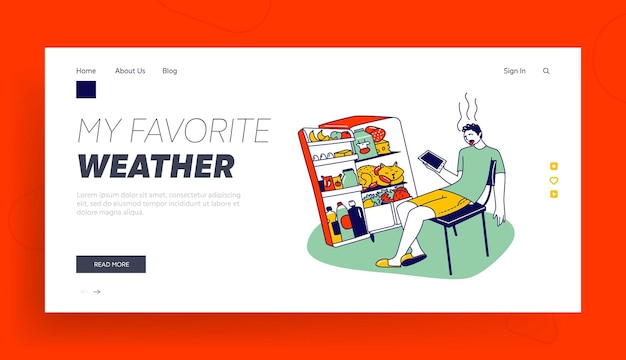 Heat stroke, extremal heating landing page template.