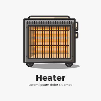 Heater cute flat cartoon illustration
