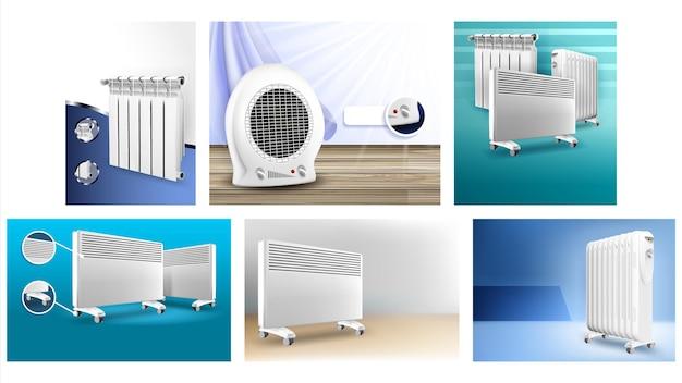 히터 라디에이터 프로모션 포스터 벡터를 설정합니다. 다른 크리에이 티브 광고 마케팅 배너의 히터 패널 및 난방 시스템 기기 컬렉션. 컬러 컨셉 템플릿 일러스트