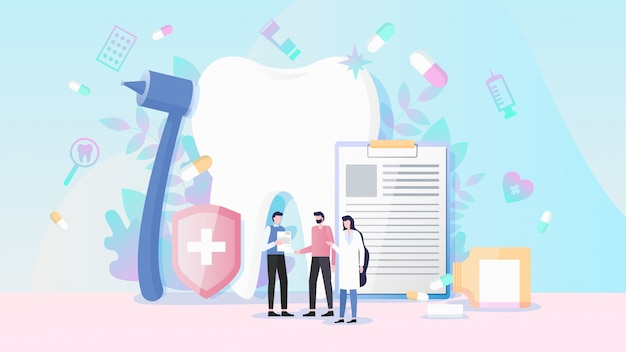 Heath and dental insurance flat vector concept