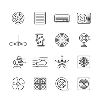 Heating and cooling airflow pictograms. ventilation, airing filter, fan, blower, aerodynamics, turbine air vector icons. illustration of airflow ventilator, fan ventilation, cooler equipment