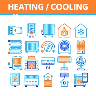 Heating and cooling icons collection
