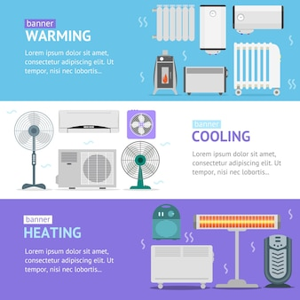 Heating, cooling and warming devices banner card horizontal set set for the house and office