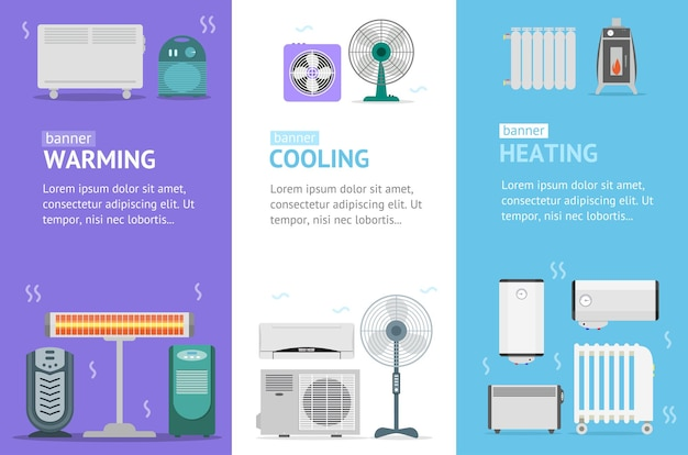 Heating, cooling and warming devices banner card vecrtical set for house and office climate control service