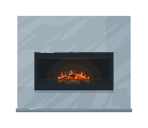 Heating home marble fireplace with burning firewood inside