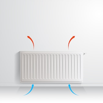 Heating radiator on white wall with arrow showing air circulation, front view.