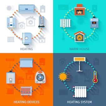 Heating system icon set