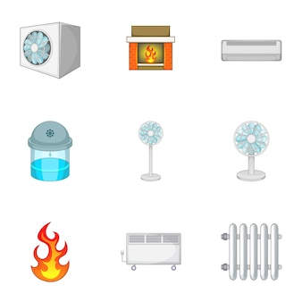 Heating system icons set, cartoon style