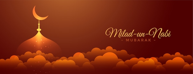 Heavenly milad un nabi mubarak festival banner design