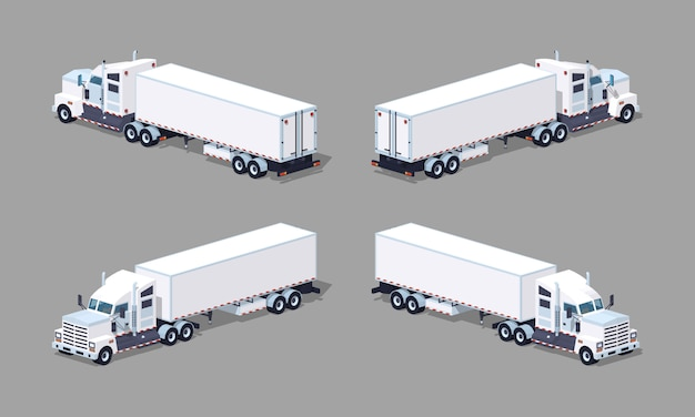 Heavy 3d lowpoly isometric white truck with the trailer