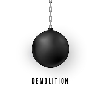 Heavy black wrecking ball for buildings destruction. realistic demolition sphere.  illustration isolated on white background