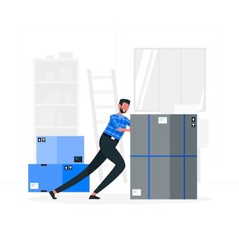 Иллюстрация концепции тяжелой коробки