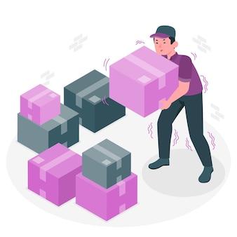 Illustrazione di concetto di scatola pesante