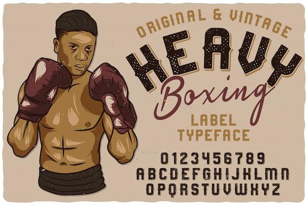 Старинные этикетки шрифта под названием heavy boxing.