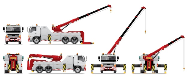 Heavy duty tow truck with crane working.