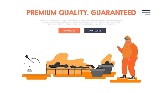 Heavy industry, metal and alloy production company website landing page.