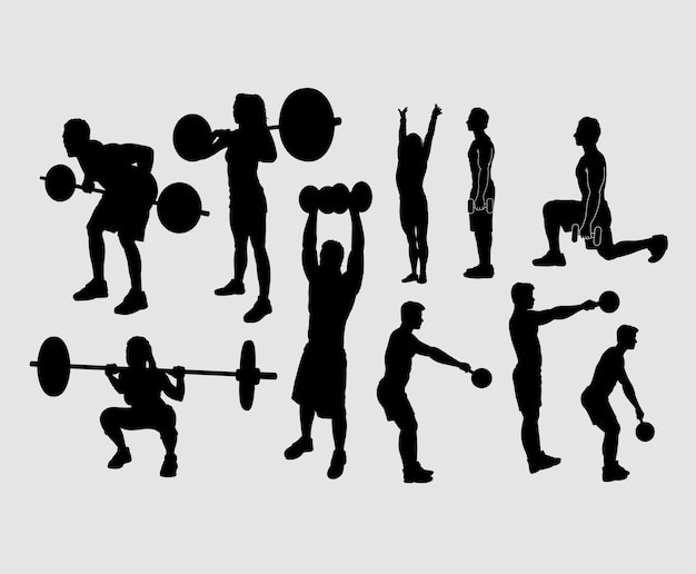 Heavy lifting and fitness male and female silhouette