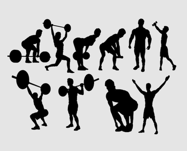 Heavy lifting and fitness male and female sport silhouette