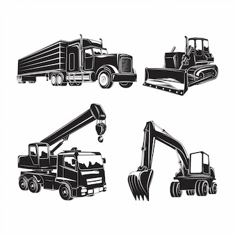 Heavy machines icons set