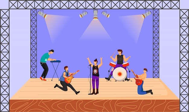 중금속 밴드 그림입니다. 콘서트에서 공연하는 음악 그룹. 무대에서 함께 연주 음악가. 라이브 음악 공연. 축제, 이벤트. 만화 캐릭터