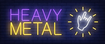 Heavy metal neon text with hand gesture