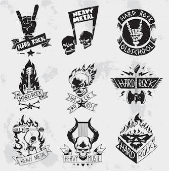 Heavy metal rock badges  set.