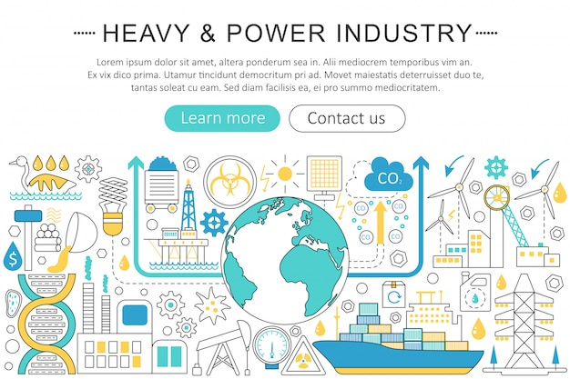 Heavy and power industry flat line concept