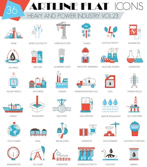 Heavy and power industry flat line icons set