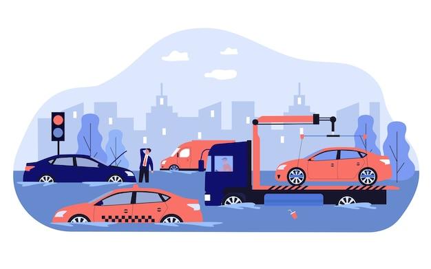 폭우와 홍수로 인해 자동차, 도로 및 도시 교통이 손상됩니다. 깨진 차량을 운반하는 견인 트럭. 봄 폭풍, 비오는 날씨, 허리케인, 재해 개념에 대한 그림
