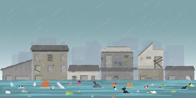 Heavy rain drops and city flood in slum city .