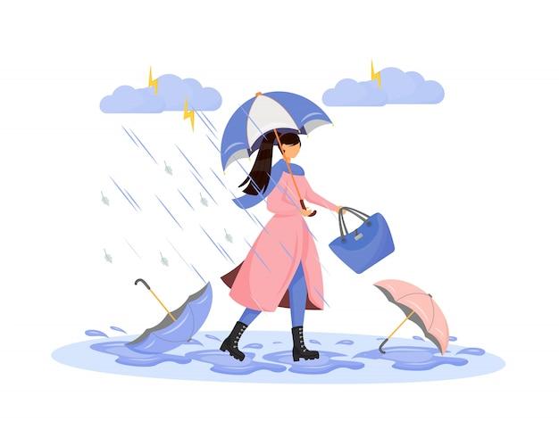 Heavy rainfall flat character