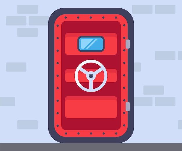 重い赤いバンカードア。爆弾シェルターに隠れます。フラットベクトルイラスト。