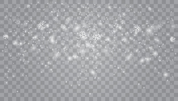 Heavy snowfall, snowflakes in different shapes and forms.