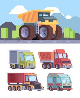 大型トラック。貨物配達用および建設業者向けの産業用車両トレーラーは、自動車のフラットな写真をベクトルします。貨物トラック商用、車両輸送のイラスト