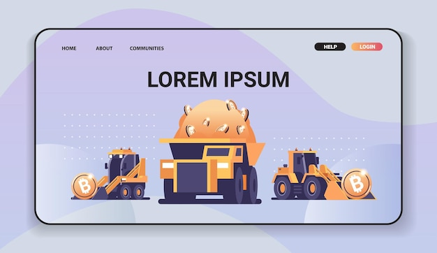 Heavy trucks mining transport with bitcoins golden coin digital money production cryptocurrency blockchain concept copy space horizontal vector illustration