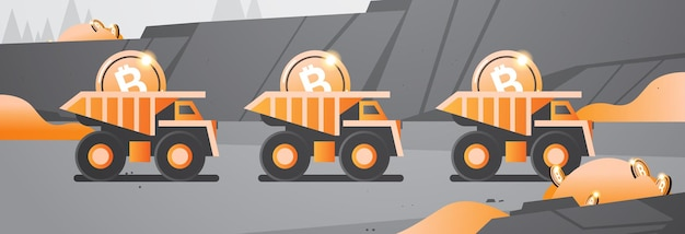 Heavy trucks mining transport with bitcoins golden coin digital money production cryptocurrency blockchain