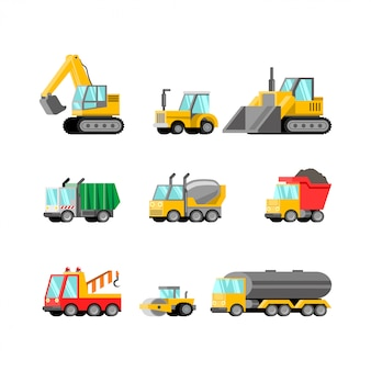 Heavy vehicle flat illustration vector set