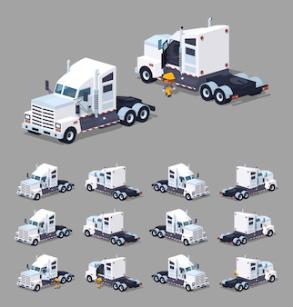Heavy white 3d lowpoly isometric truck