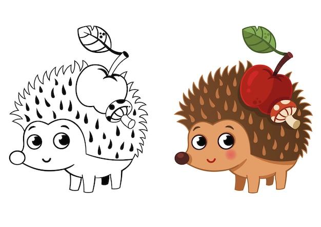 Hedgehog carrying an apple and a mushroom vector illustration
