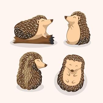 Hedgehog cartoon porcupine set