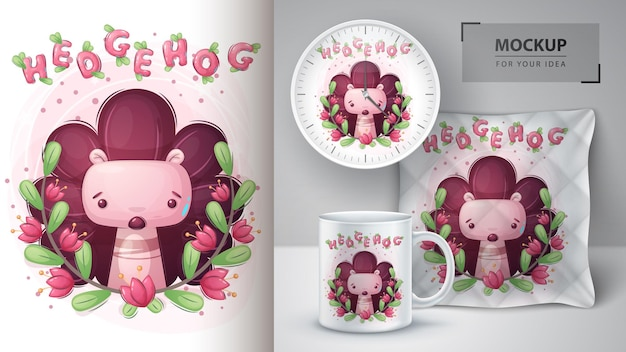 Hedgehog in flower poster and merchandising