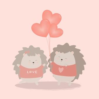 Il riccio dà palloncino cuore alla coppia con amore, cartone animato isolato animali carini animali romantici coppie innamorate, concetto di san valentino, illustrazione