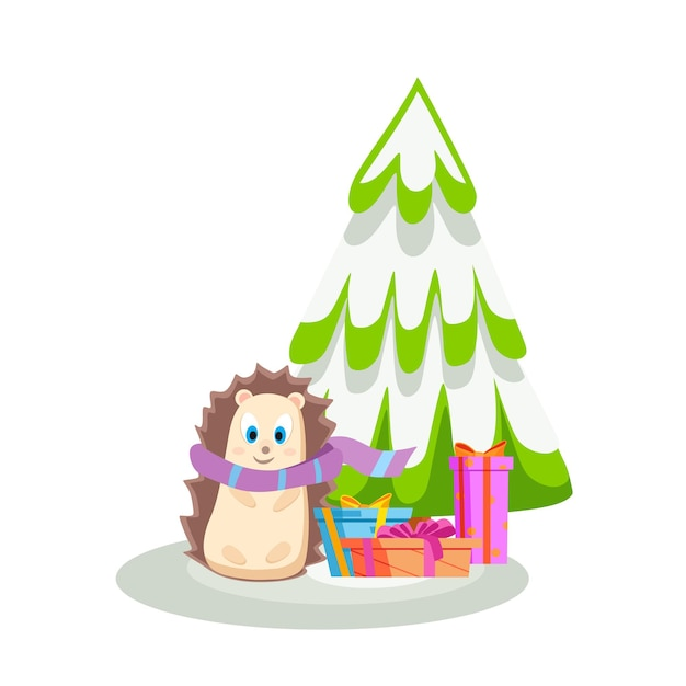 A hedgehog gives gifts standing next to a snowcovered christmas tree vector illustration