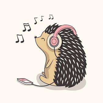 Hedgehog listen music cartoon cute baby porcupine