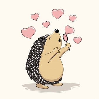 Hedgehog playing love soap bubble balloon cartoon porcupine
