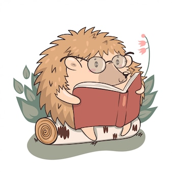 Hedgehog reads isolate on a white background. kawaii character hedgehog.