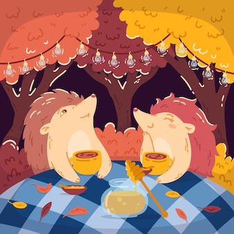 Hedgehogs tea party in the autumn forest, with a jar of honey. glowing garlands hang on the trees. children's illustrations