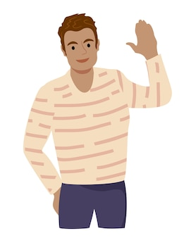 인사 제스처를 흔드는 쾌활한 남자 캐주얼 옷을 입고 손을 흔드는 남자 웃는 남자